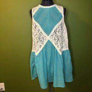 Umgee USA teal boho lace dress